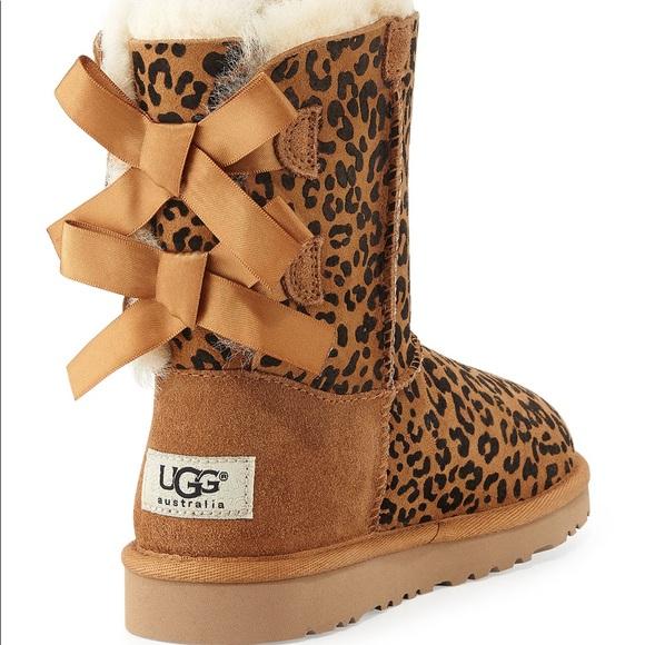 Kids Cheetah Print Bow Uggs